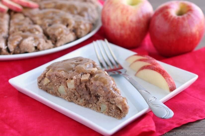 Brown Sugar Glazed Apple Scones from DessertNowDinnerLater.com