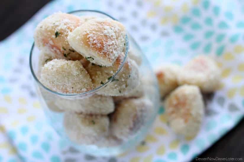 Garlic Parmesan Pretzel Bites from DessertNowDinnerLater.com