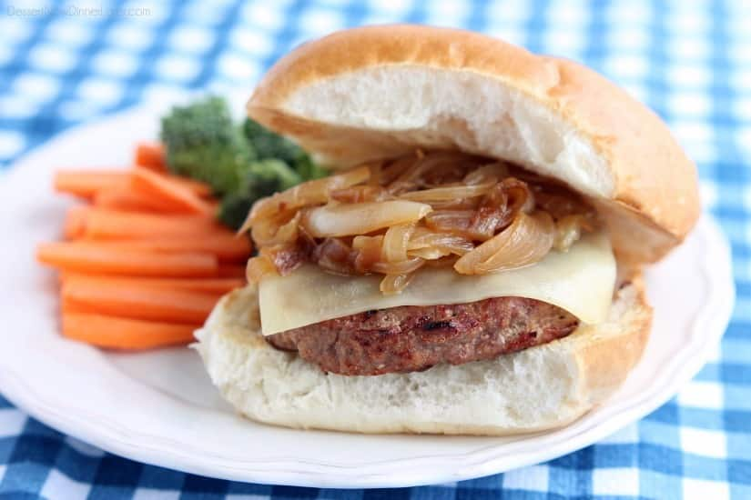 Swiss and Onion Turkey Burgers