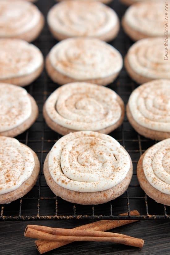 Cinnamon Roll Sugar Cookies from DessertNowDinnerLater.com