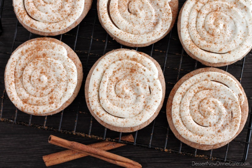 Cinnamon Roll Sugar Cookies from DessertNowDinnerLater.com