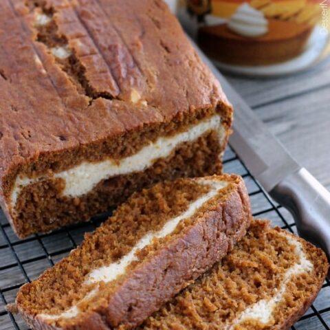 Cream Cheese Filled Pumpkin Bread from DessertNowDinnerLater.com