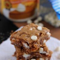 Pumpkin White Chocolate Chip Blondies from DessertNowDinnerLater.com