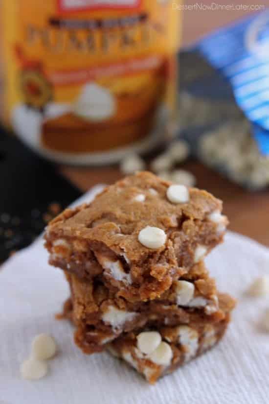 Pumpkin White Chocolate Chip Blondies from DessertNowDinnerLater.com