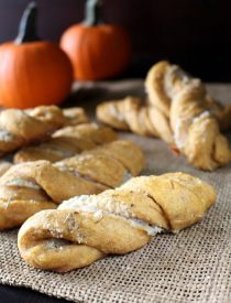 Savory Pumpkin Twists - Soft, moist yeast rolls featuring savory pumpkin flavors