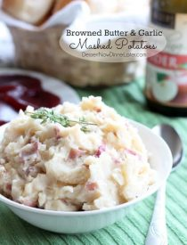 Browned butter and sautéed garlic give these mashed potatoes their rich and delicious flavor! From DessertNowDinnerLater.com