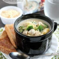 Chicken, broccoli florets, and noodles come together in this easy, creamy, garlic and parmesan alfredo broth. From DessertNowDinnerLater.com