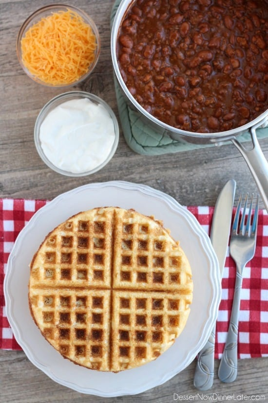 Cornbread Waffles with Chili gets dinner on the table in 15 minutes! From DessertNowDinnerLater.com