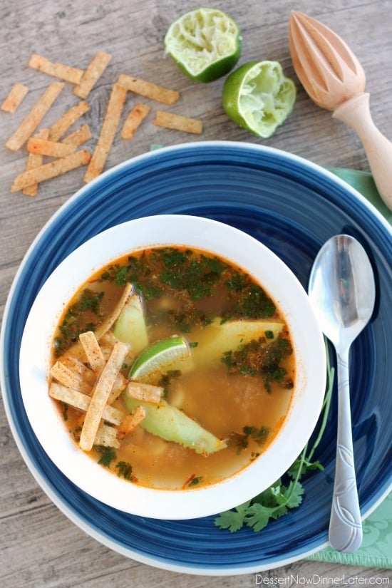 Mexican Chicken Lime Soup from DessertNowDinnerLater.com