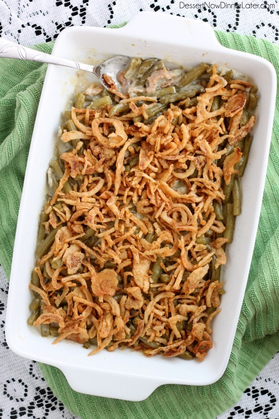 This Green Bean Casserole is made with a quick and easy homemade sauce - no cream soup needed! From DessertNowDinnerLater.com