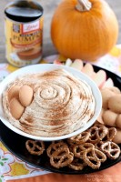 Pumpkin Cheesecake Dip is super simple to make and is great with apples, vanilla wafers, pretzels and more! From DessertNowDinnerLater.com