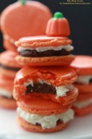 Pumpkin Buttercream Filled Macarons with Pumpkin Spice Dark Chocolate Ganache