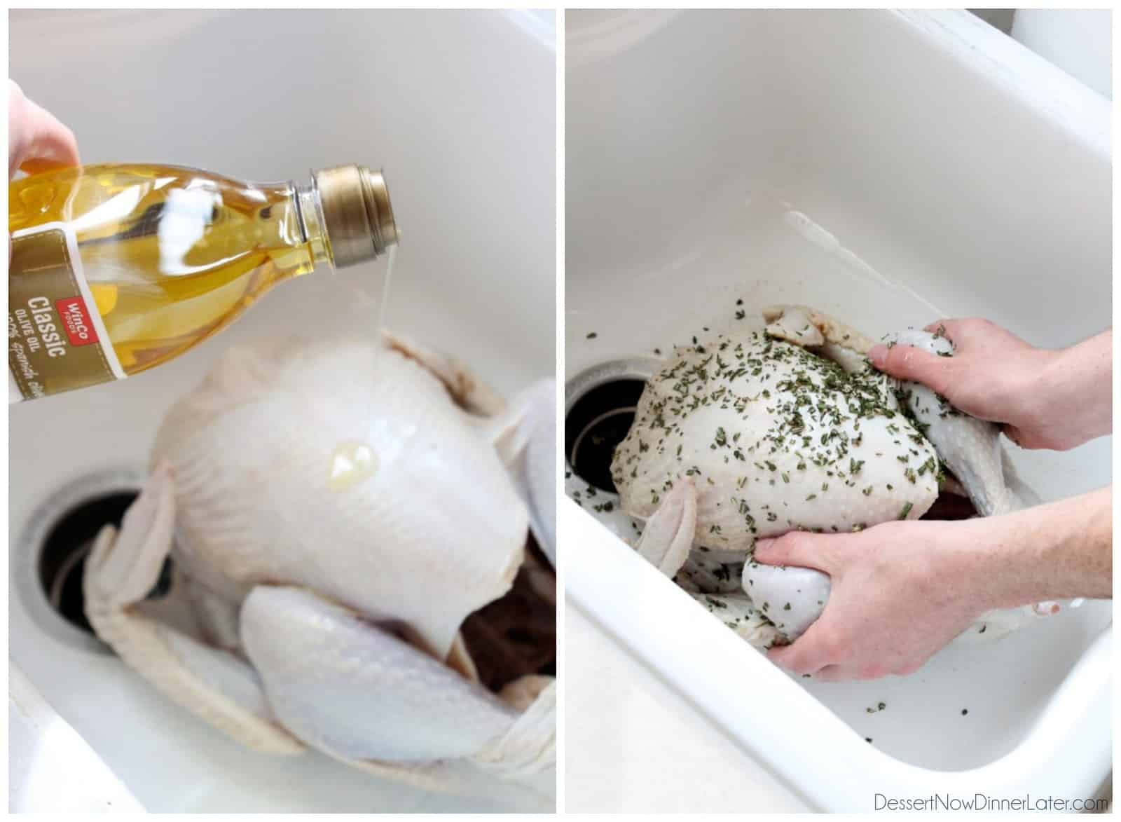 Our favorite Apple and Herb Turkey Brine with step-by-step photos on how to brine and cook a turkey to juicy perfection! From DessertNowDinnerLater.com