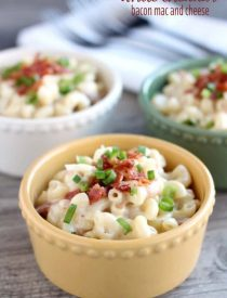 This White Cheddar Bacon Mac and Cheese will become your favorite comfort food with tender elbow macaroni, creamy white cheddar sauce, and bits of bacon throughout! From DessertNowDinnerLater.com