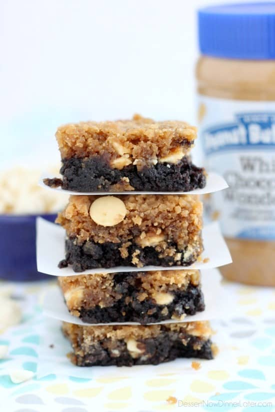 White Chocolate Peanut Butter Brookies - a layer of brownies topped with a layer of peanut butter white chocolate chip cookies. Combined they are delicious brookies! From DessertNowDinnerLater.com