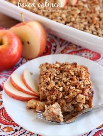 Apple Cinnamon Baked Oatmeal - old fashioned oats, agave, and apples are just a few of the delicious ingredients used in this lighter baked oatmeal. From DessertNowDinnerLater.com