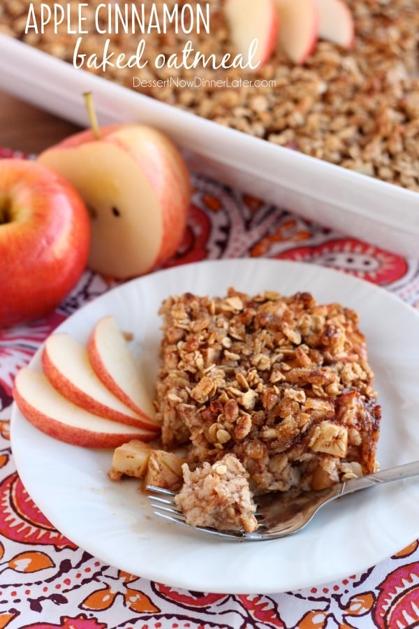 Apple Cinnamon Baked Oatmeal - old fashioned oats, agave, and apples ...