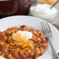 This Chili Mac and Cheese is made from scratch in 30 minutes for a warm, comforting meal! From DessertNowDinnerLater.com