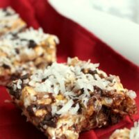 Chocolate Coconut Caramel Popcorn Bars