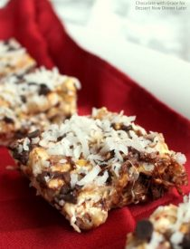 Chocolate Coconut Caramel Popcorn Bars. A quick, easy Christmas treat!