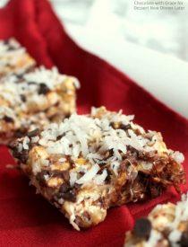 Chocolate Coconut Caramel Popcorn Bars. A quick, easy Christmas treat!