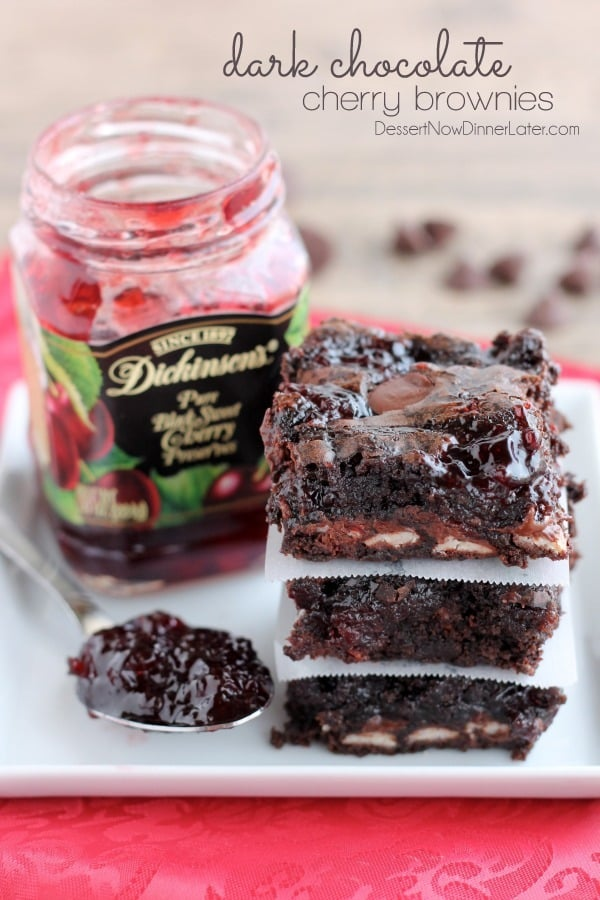 Dark Chocolate Cherry Brownies - Dessert Now, Dinner Later!