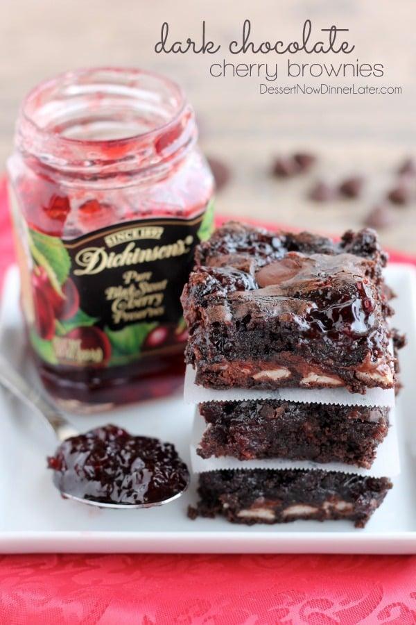Dark Chocolate Cherry Brownies - Dessert Now, Dinner Later!