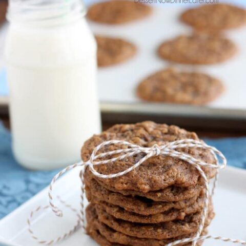 Gingersnap Oatmeal Cookies - Soft baked gingersnap cookies with the addition of old fashioned oats to make a chewy, delectable cookie! From DessertNowDinnerLater.com