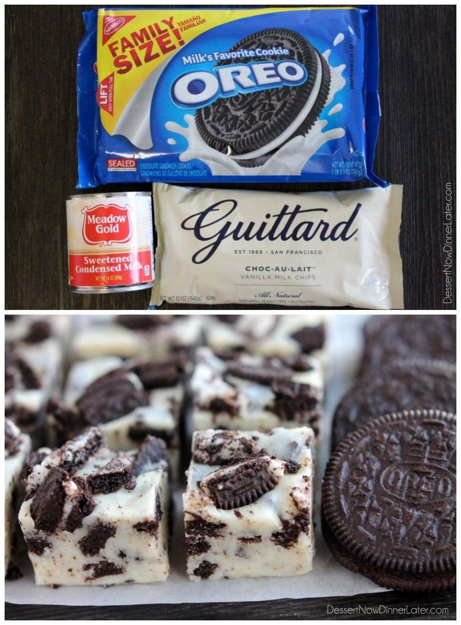 This Oreo Fudge whips up with only 3 ingredients! From DessertNowDinnerLater.com