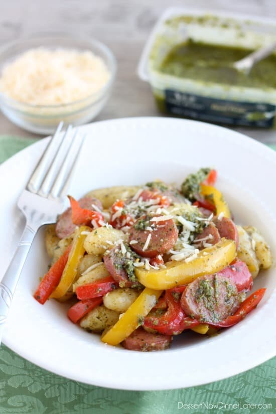 Pesto Gnocchi with Sausage and Peppers from DessertNowDinnerLater.com