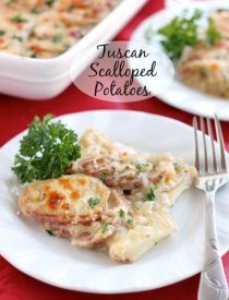 Tuscan Scalloped Potatoes - Thinly sliced potatoes covered in a simple Tuscan seasoned sauce, topped with Parmesan and Mozzarella cheeses, then baked and browned to perfection! From DessertNowDinnerLater.com