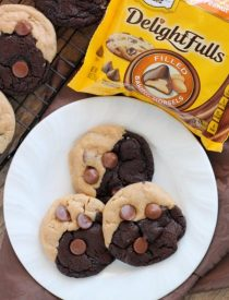 Ultimate Peanut Butter Chocolate Cookies - peanut butter and chocolate swirled cookies dotted with peanut butter filled chocolate morsels for the ultimate peanut butter chocolate cookie! From DessertNowDinnerLater.com