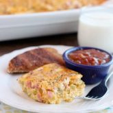 This Ham Chile and Cheese Baked Omelet is a great way to feed a crowd for breakfast, brunch, or brinner!
