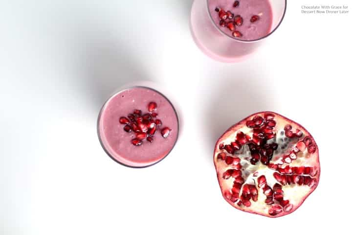 A Pomegranate Banana Smoothie that is healthy and delicious! A great treat for the new year!