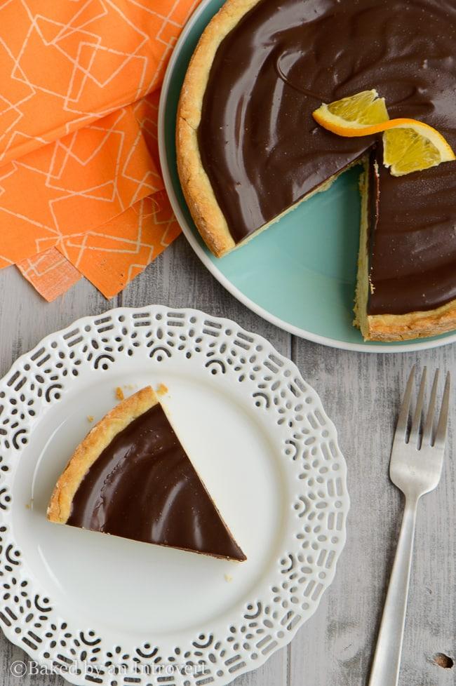 chocolate orange ricotta tart