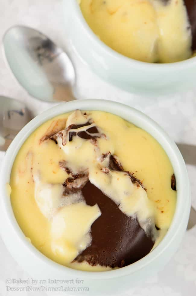 marsmallow fluff pudding with chocolate swirl