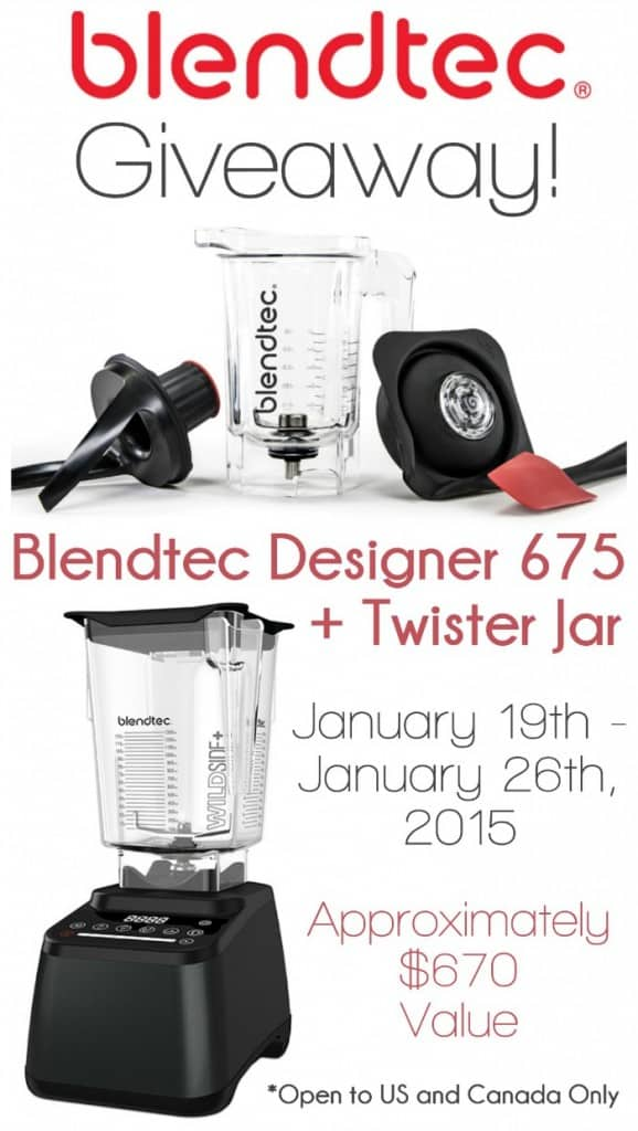 Blendtec Giveaway! Win a Blendtec Designer 675 + Twister Jar worth approximately $670! Giveaway goes from January 19th - January 26th, 2015 and is available to US and Canada Residents. This machine will change your life! Get entered!
