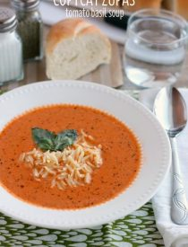 This Copycat Zupas Tomato Basil Soup is spot on! With fresh made basil pesto, whole tomatoes, and sauteed vegetables, cooked slow, and pureed smooth. This is one soup you'll love to create at home served with al dente orzo pasta!
