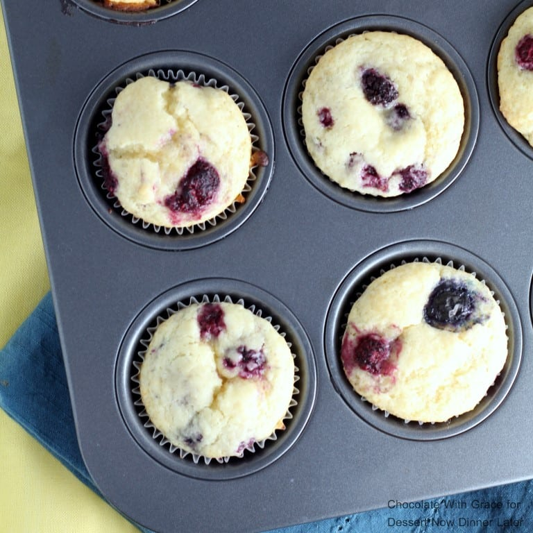 These soft and fluffy Lemon Berry Muffins whip up in less than a half hour and are perfect for brunch.