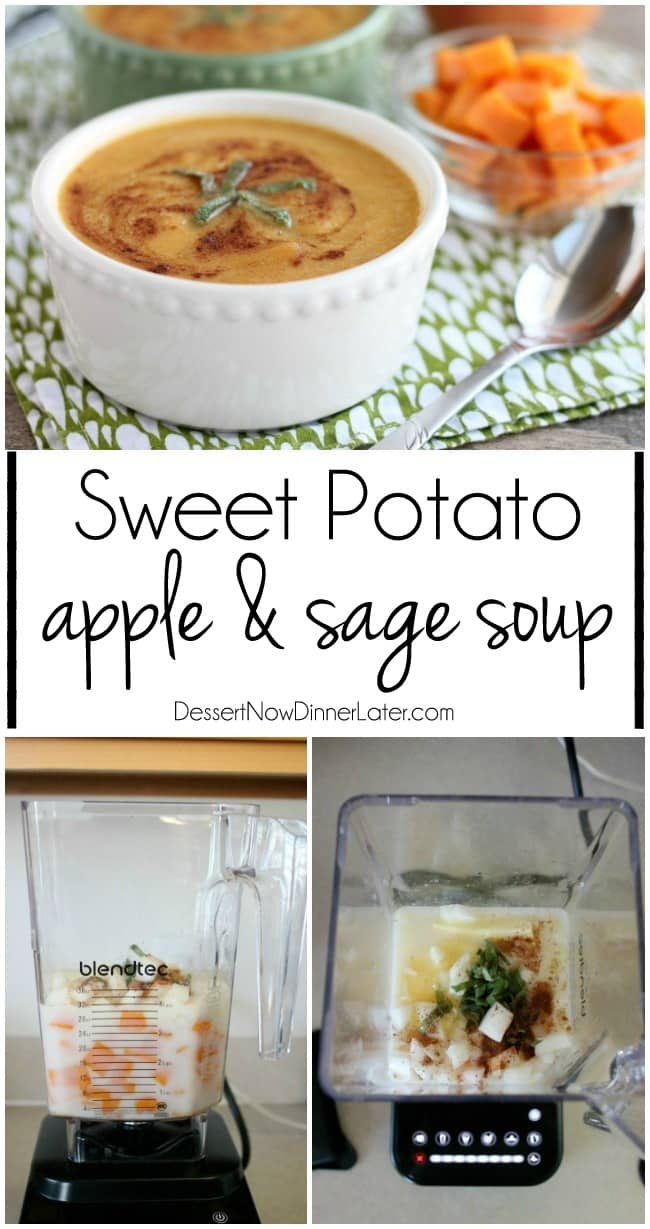 Sweet Potato Apple and Sage Soup is simple, nutritious, and heats up and blends smooth in 90 seconds with a Blendtec!