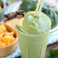 This Tropical Green Smoothie uses tender spinach leaves, plain non-fat greek yogurt, and frozen fruit for a naturally sweet smoothie that's great for breakfast or a snack!