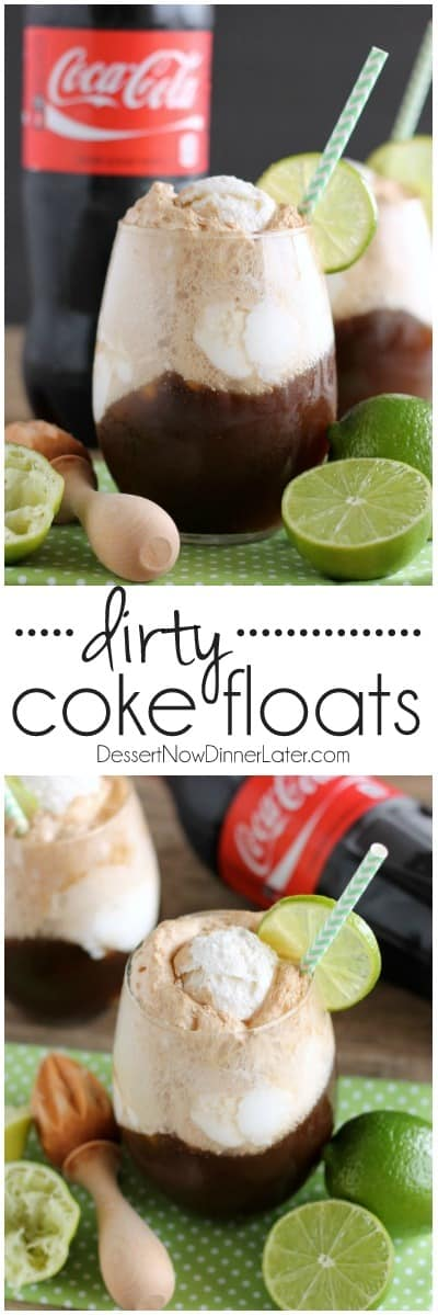 Dirty Coke Floats – smooth coconut ice cream, a tangy squeeze of lime, and fizzy Coca-Cola creates this addicting ice cream-soda float!