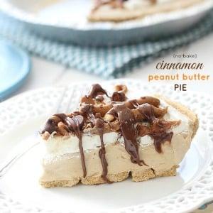 {No-Bake} Cinnamon Peanut Butter Pie -- by @LifeMadeSweeter