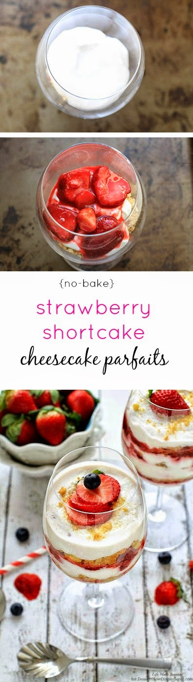 No-Bake Strawberry Shortcake Cheesecake Parfaits - Simple and light cheesecake parfaits made with non-fat Greek yogurt and low fat cream cheese with delicious layers of shortbread cookies and sweetened strawberries.