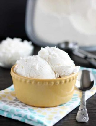No Churn Coconut Ice Cream - only 2 ingredients to make this creamy, smooth coconut ice cream without a machine!