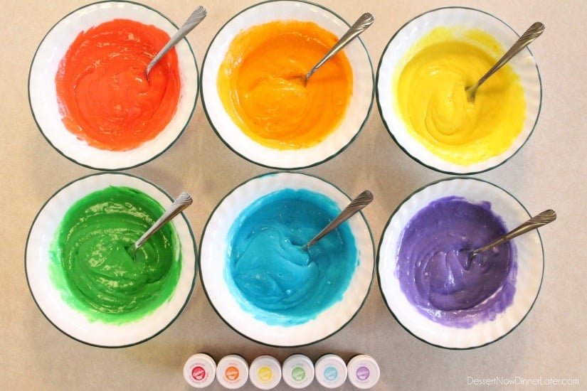 Rainbow Cupcake Batter - red, orange, yellow, green, blue, purple.