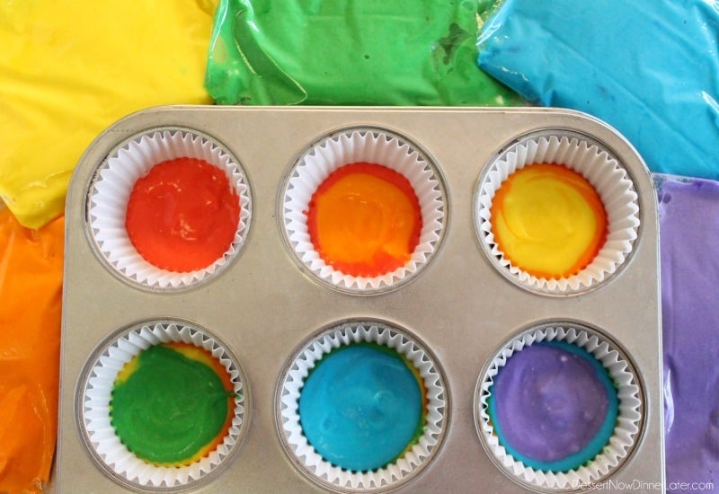 Rainbow Cupcakes - layer colored cake batter in order: red, orange, yellow, green, blue, purple.