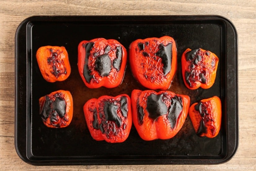 How to roast red peppers at home using a broiler.