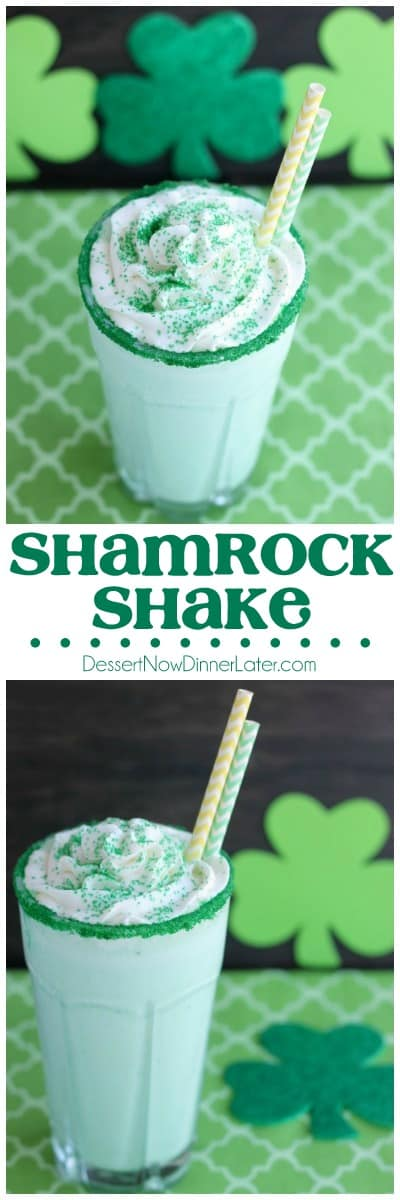 This Copycat McDonald's Shamrock Shake is minty, green, and topped with whipped cream! Perfect for St. Patrick's Day!