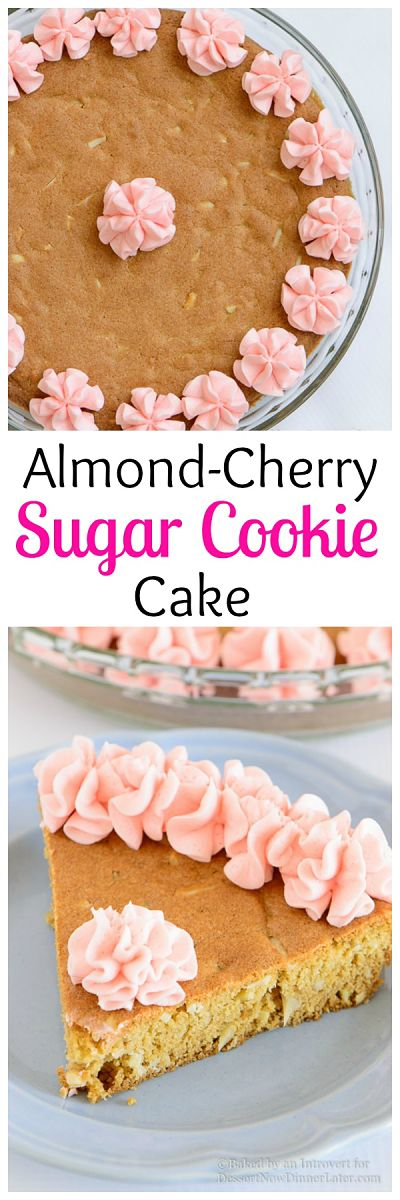 Almond Cherry Sugar Cookie Cake - Almond flavored sugar cookie cake with slivered almonds throughout and topped with cherry frosting. The best sugar cookie you will ever have!